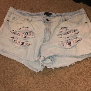 Plus Size Ripped Cut Out Jean Shorts Forever 21